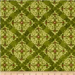 Velvet Blossoms Flannel Medallion Green