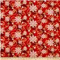 Winter Garden Metallic Snowflake Flourish Red