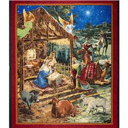 O' Holy Night Metallic Nativity Panel Multi