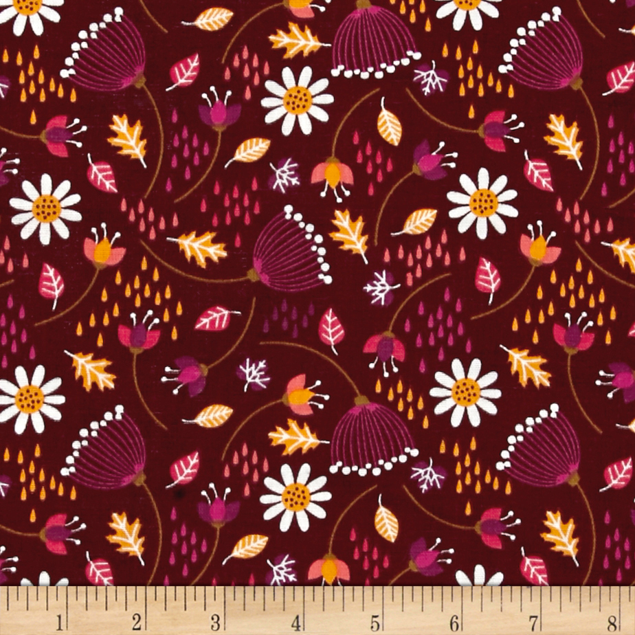 Enchanted Seed Pods Double Gauze Bordeaux Fabric by Eugene in USA