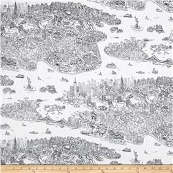 Timeless Treasures New York Map White
