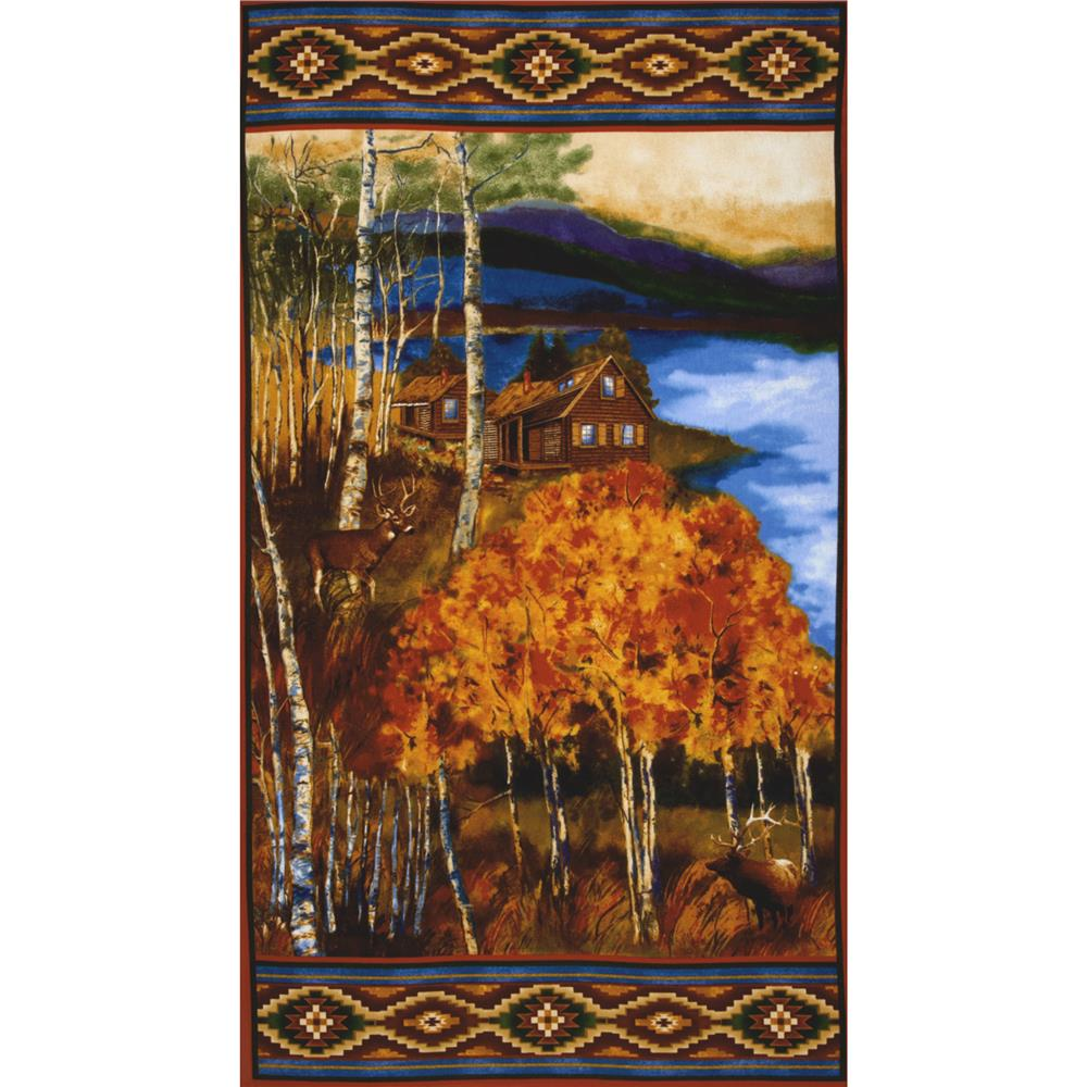 Lakeside Retreat Flannel Cabin Panel Multi