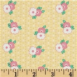 1930's Classics Floral Stripe Yellow Fabric