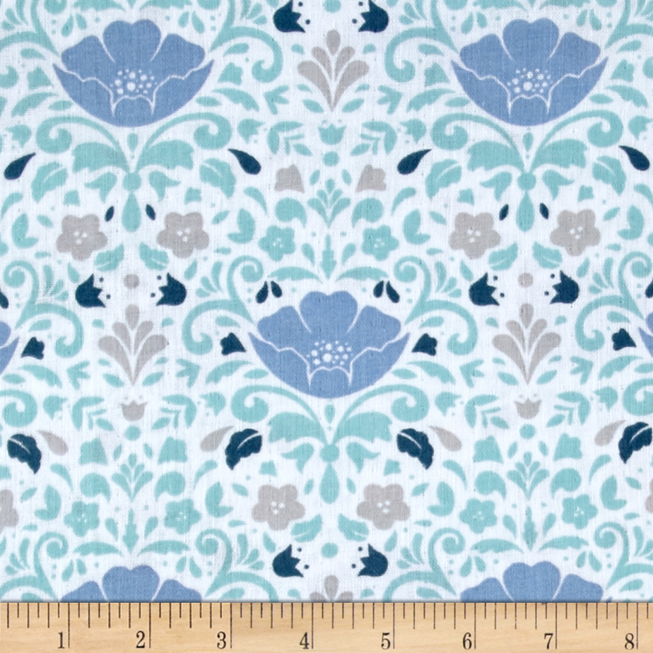 Ethereal Double Gauze Floral Damask Aqua Fabric by Eugene in USA