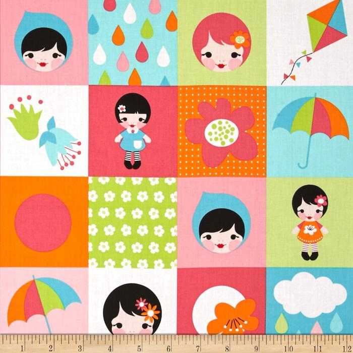 Kaufman Whatever The Weather Patchwork Rainbow