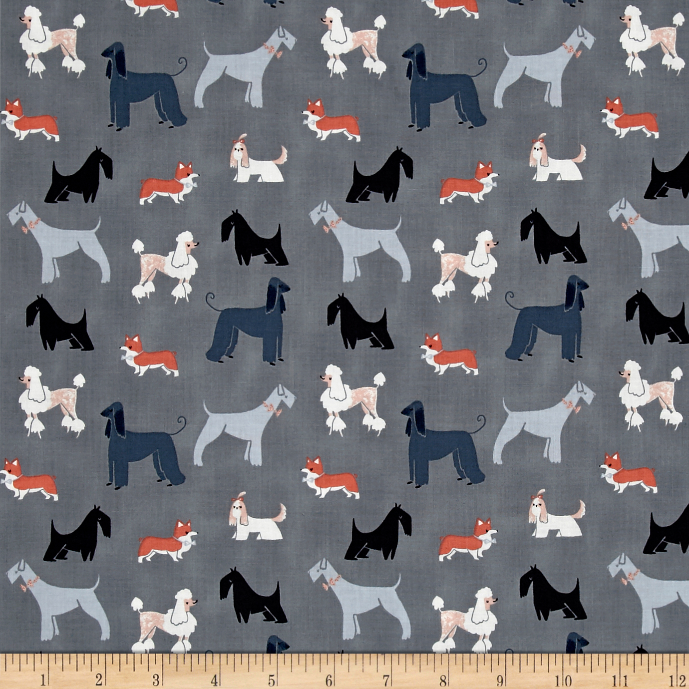 Dear Stella Tea Party Show Dogs Pewter Fabric