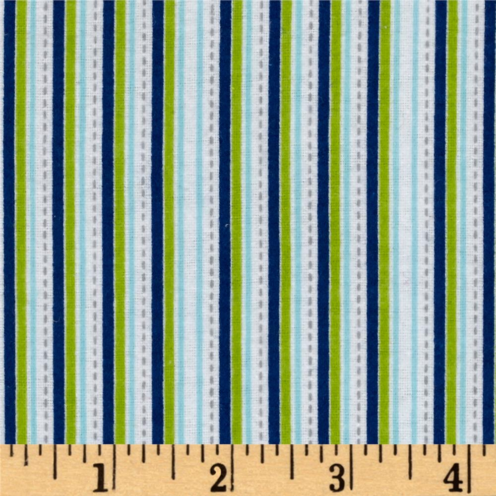 Alpine Flannel Stripe Multi Boy Fabric By The Yard