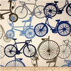 Duralee Bicycle Ride Blue/Brown Fabric