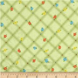 Minky Quilted Floral Plaid Green