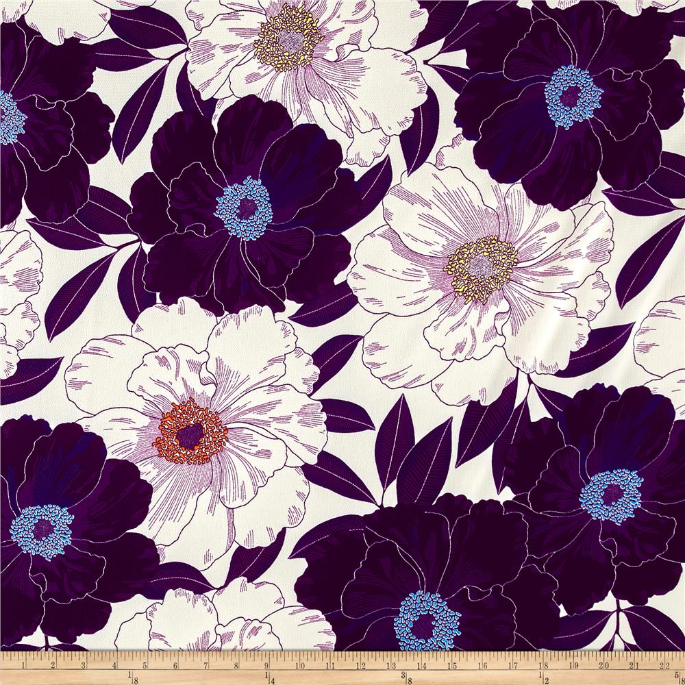 French Large Poppy Floral Print Polyester Crepe Purple/Off White Fabric