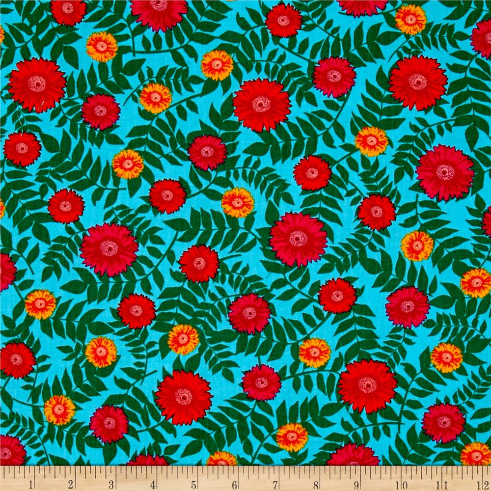 Kanvas sew rouseau daisy turquoise discount designer for Cheap sewing fabric