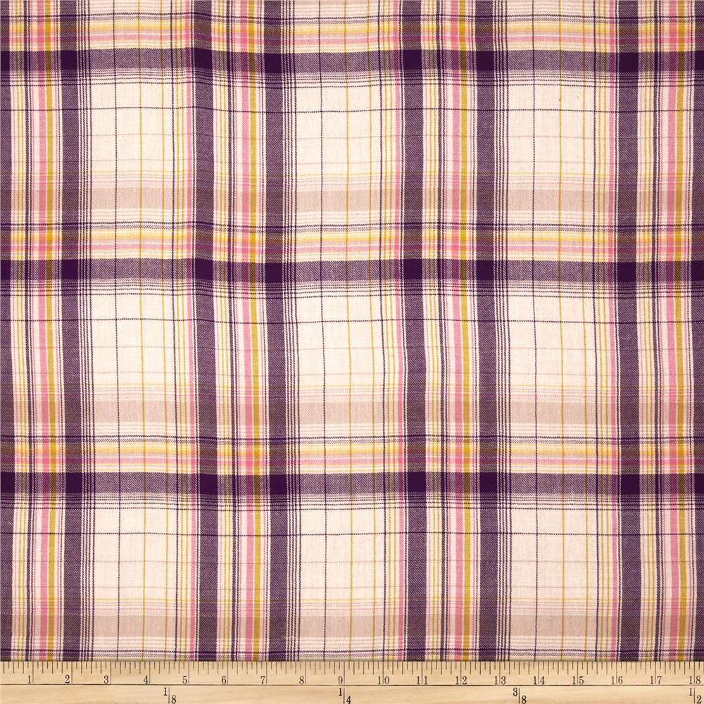 Cotton Brushed Yarn-Dyed Plaid Shirting Pink/Purple/Cream
