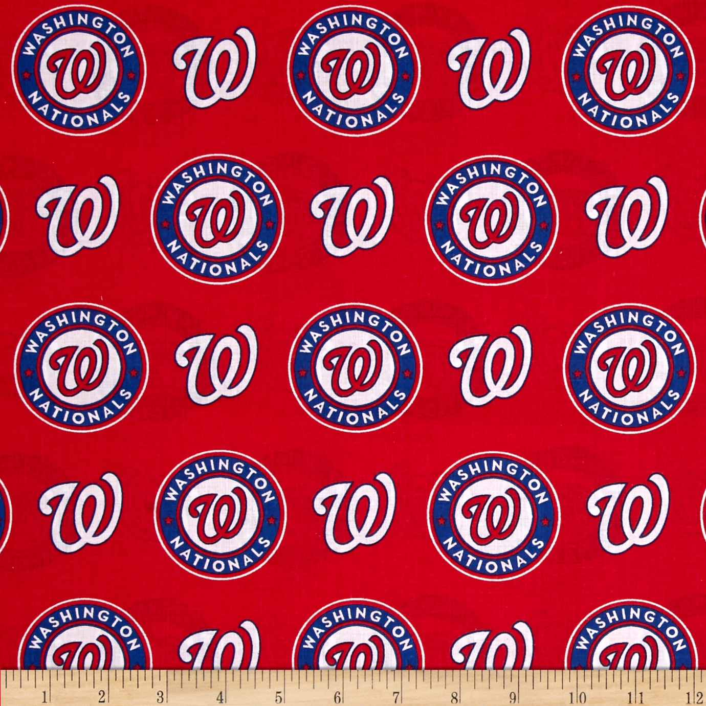 MLB Cotton Broadcloth Washington Nationals Red/Blue Fabric by Fabric Traditions in USA