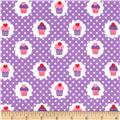 Michael Miller Flannels It's A Girl Thing Mini Cupcakes Purple