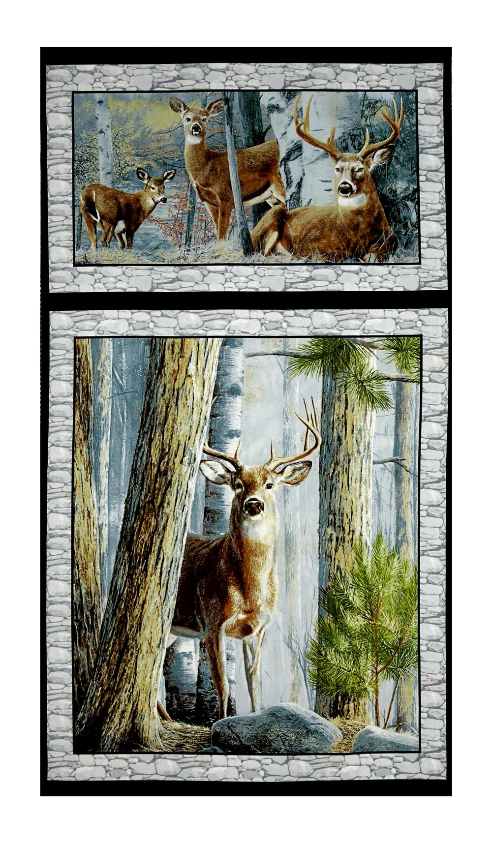 """In The Woods 24"""" Panel Gray"""
