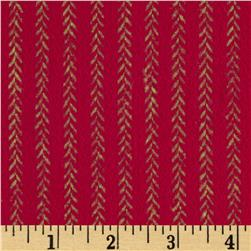 Primo Plaids Christmas Flannel Vine Stripe Red