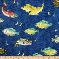 A Lazy Afternoon Fish All Over Dark Blue