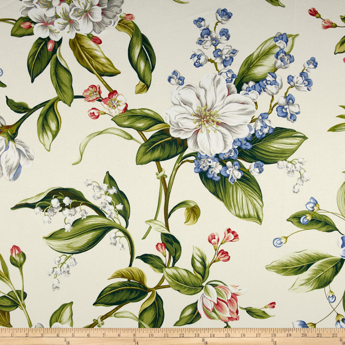 Waverly Williamsburg Collinson Floral Twill Parchment
