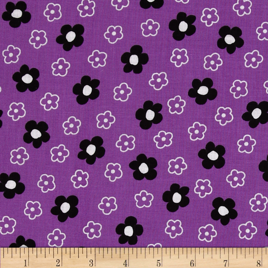 Tossed Flowers Purple/White/Black Fabric