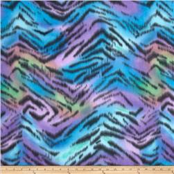 Polar Fleece Print Wacky Zebra Teal/Purple