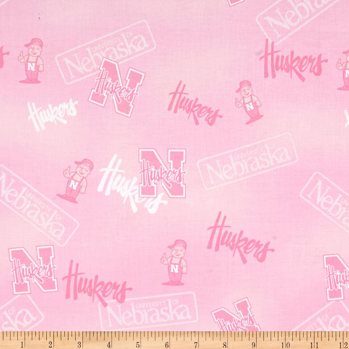 Collegiate Cotton Broadcloth Nebraska Pink Fabric