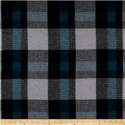 Brushed Wool Blend Check Teal/Black/Grey