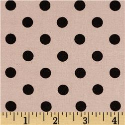 Rayon Challis Small Dots Tan/Black