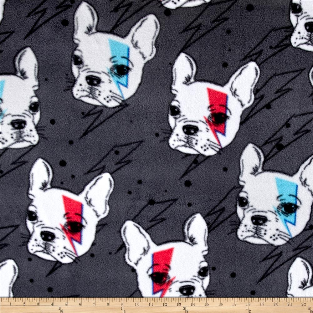 Fleece Prints Boys Take Over French Brit Pup Deep Gray Fabric By The Yard