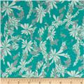 Valori Wells Quill Interlock Knit Floral Spray Seaglass Aqua