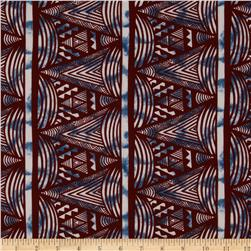 Polyester Shirting Abstract Burgundy/Blue/Cream