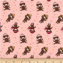 Alpine Flannel Sock Monkey Pink