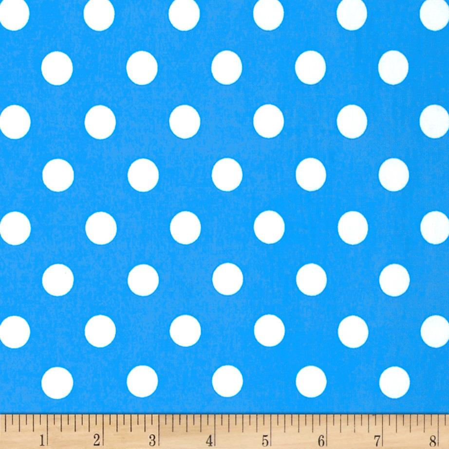 Stretch ITY Jersey Knit Medium Dots Carribean Blue/White