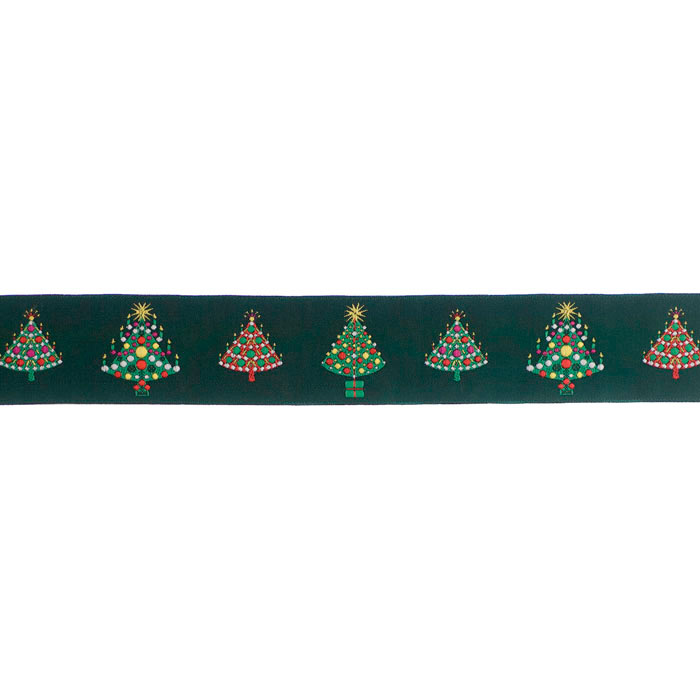 1 1/2'' Ribbon Christmas Trees Green