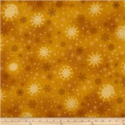 Robert Kaufman Radiant Holiday Metallic Snowflakes Gold
