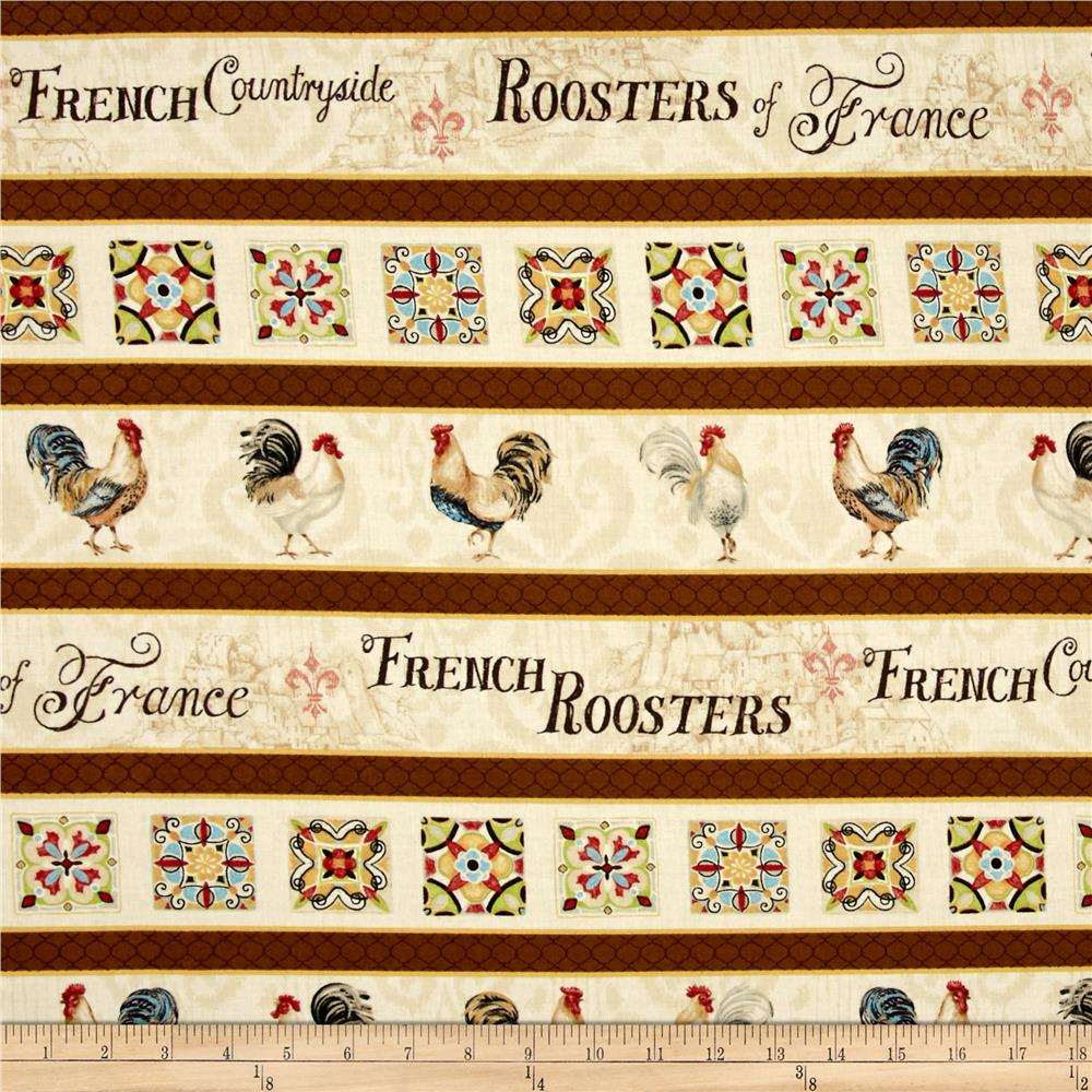 Bohemian Rooster Repeating Stripe Cream