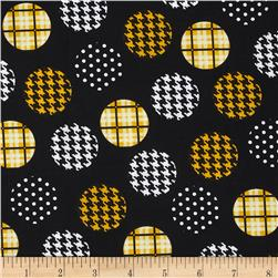 Spotlight Large Patterned Dots Golden Yellow/Black Fabric