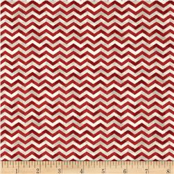 Poulets de Provence Chevron Red Fabric