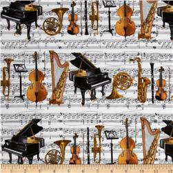 Concerto Orchestra Stripe White Fabric