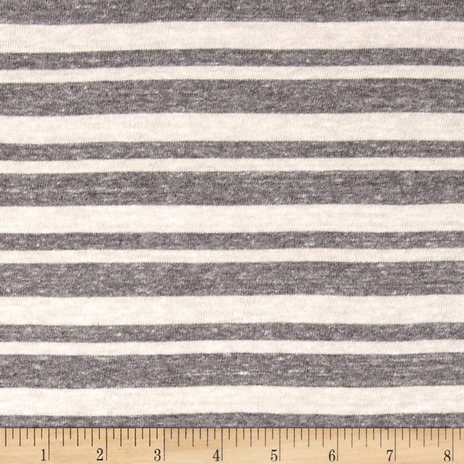 Yarn Dyed Jersey Knit Multi Stripe Grey/Vanilla