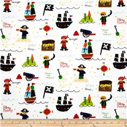Riley Blake Treasure Map Flannel Main White