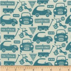 Riley Blake Cruiser Blvd Flannel Car Lanes Blue