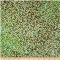 Indian Batik Montego Bay Vine Metallic Green