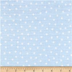 Gauze & Effect Double Gauze Polka Dot Light Blue