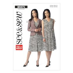 Butterick Misses' Lined Jacket and Dress Pattern B5975 Size 0A0