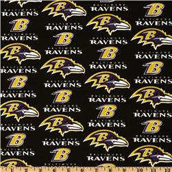 NFL Cotton Broadcloth Baltimore Ravens Black/Purple/Gold Fabric
