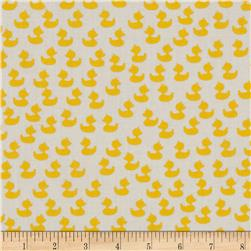 Baby Talk Ducks White Fabric