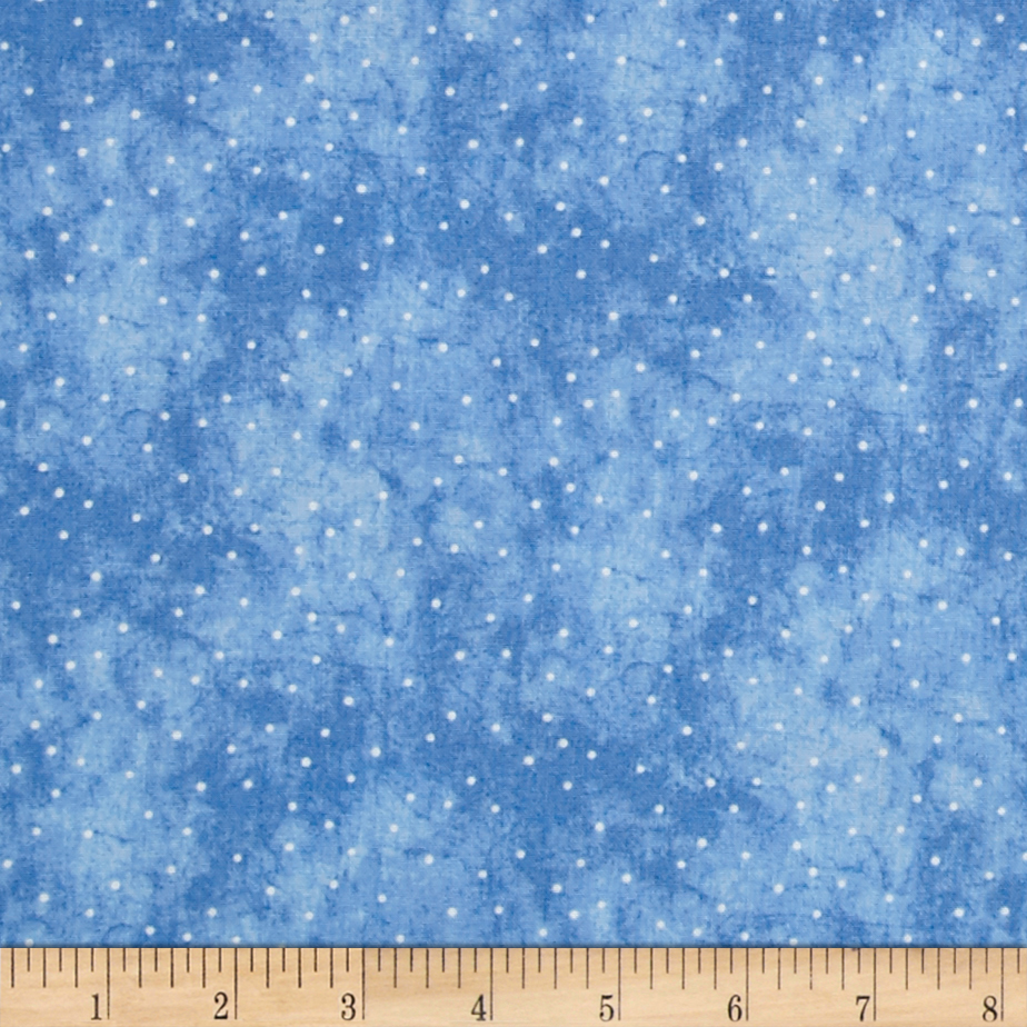 Just Be Claus Itty Bitty Dots Blue Fabric by E. E. Schenck in USA