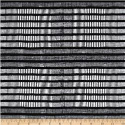 Skyscraper Knit Texture Stripe Grey/Black Fabric