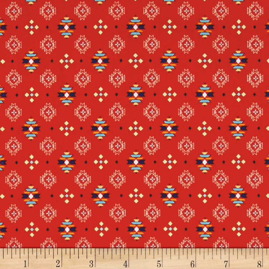 Pow Wow Small Aztec Print Red Fabric 0512800