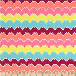 Chiffon Summer Chevron Aqua/Yellow/Neon/Purple Fabric